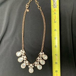 J crew gold and large rhinestone necklace